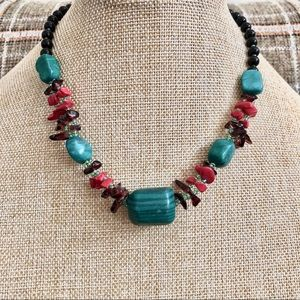 Turquoise Green Red and Burgundy Necklace